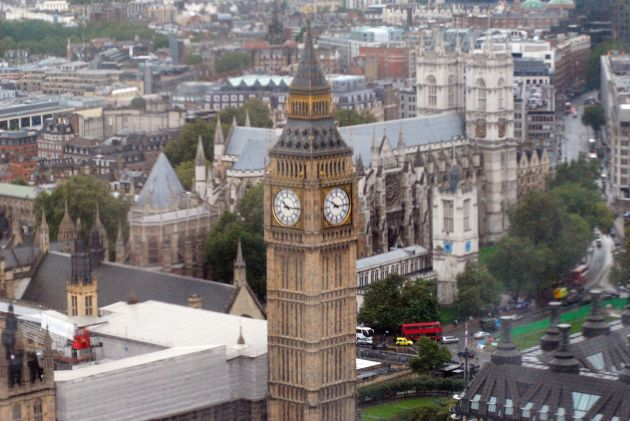 Westminster Abbey, (behind the clock tower) as seen from the London Eye