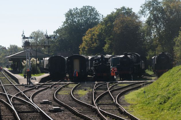 Locomotives and coaches stored at Horsted-Keynes photo by Kevin Argue
