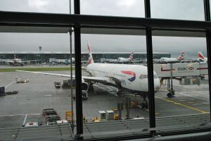 Our plane, British Airways 767 at Heathrow
