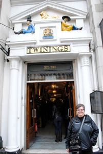 Linda in front of the Twining's Tea Shop, that corridor is the full width of the store