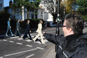 A sighting of apparently 2D Beatles on Abbey Road