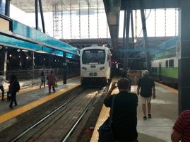 Our GO train arrives, ready to take us to Brampton